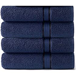 Cotton Craft - 4 Pack - Ultra Soft Oversized Extra Large Bath Towels 30x54 Night Sky - 100% Pure Ringspun Cotton - Luxurious Rayon Trim - Ideal for Daily Use - Each Towel Weighs 22 Ounces