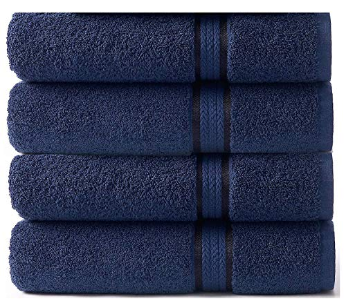 COTTON CRAFT - 4 Pack - Ultra Soft Oversized Extra Large Bath Towels 30x54 Night Sky - 100% Pure Ringspun Cotton - Luxurious Rayon Trim - Ideal for Daily Use - Each Towel Weighs 22 Ounces (Best Bath Towels 2019)