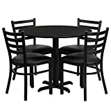 MFO 36'' Round Black Laminate Table Set with 4 Ladder Back Metal Chairs - Black Vinyl Seat
