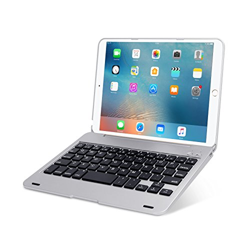 ONHI Wireless Keyboard for iPad Mini Keyboard Case, Folio Flip Smart Cover for iPad Mini 3/ iPad Mini 2/ iPad Mini 1 with Folding Stand,Silent Typing(Silver)