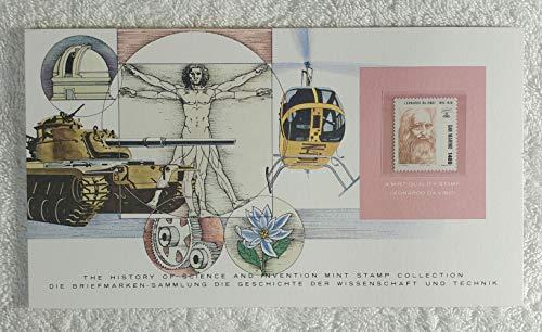 Leonardo Da Vinci - Postage Stamp (San Marino, 1983) & Art Panel - The History of Science & Invention - Franklin Mint (Limited Edition, 1986) - Art, Science, Invention