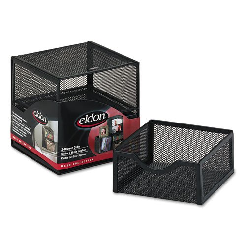 (Eldon Expressions Wire Mesh 2 Drawer Cube, Black (ELD9E5600BLA) Category: Desktop and Drawer Organizers)