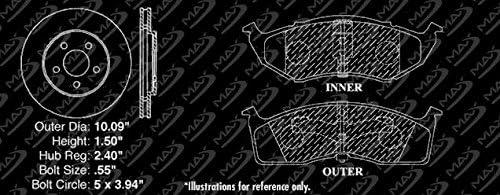 Fits: 1996 96 Dodge Caravan//Grand Caravan OE Series Rotors + Ceramic Pads Max Brakes Front Premium Brake Kit KT081741