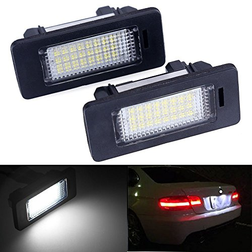 2pcs Car License Plate Light for BMW 1 3 5 X Series Error Free 3W 24 Led White Rear License Tag Lights Rear Number Plate Lamp Direct Replacement X5 X6 M3 E39 E60 E70 E71 E82 E90 E92 -