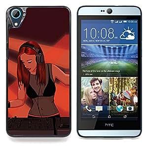"Qstar Arte & diseño plástico duro Fundas Cover Cubre Hard Case Cover para HTC Desire 826 (Pintura Dj Mujer atractiva muchacha Redhead Jengibre Arte"")"