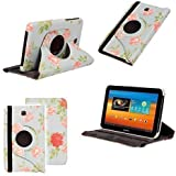 Neotechs® Retro Vintage Blue Flower Rotating Leather 360° Stand Case Cover for Samsung Galaxy Tab 3 7.0 Inch P3200