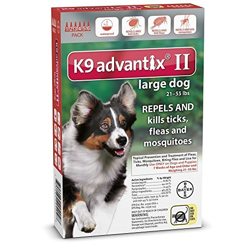 K9 Advantix II Flea Control for Dogs 21-55 Pounds (6 Applications) Advantix Red Flea Treatment