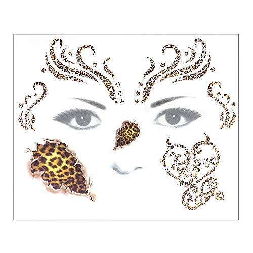 DZT1968  Halloween Temporary Face Art Waterproof Mask Sugar Skull Tattoo Beauty Sticker Perfect for Halloween Makeup and Cosplay (B) -