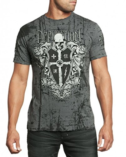 Affliction Men Shirt Bloody War Tee S/s Crew Neck in Charcoal Wash