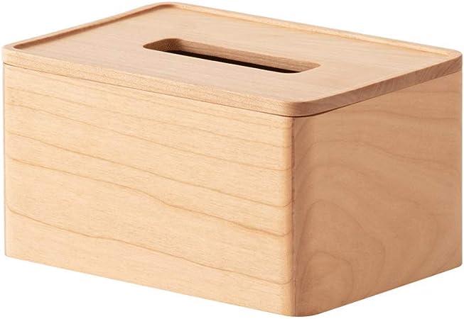 LOCGFF Tapa Rectangular de Madera de bambú para Caja de pañuelos ...