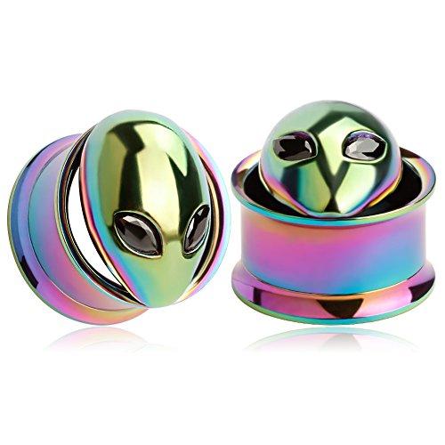 KUBOOZ(1 Pair) Colorful Alien Ear Plugs Tunnels Gauges Stretcher Piercings 1/2