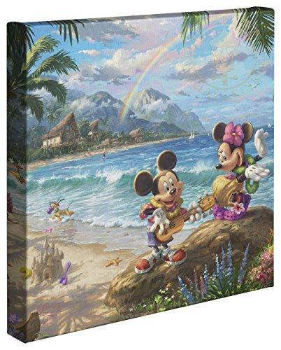 Thomas Kinkade Studios Disney's Mickey and Minnie in Hawaii 14 x 14 Gallery Wrapped Canvas