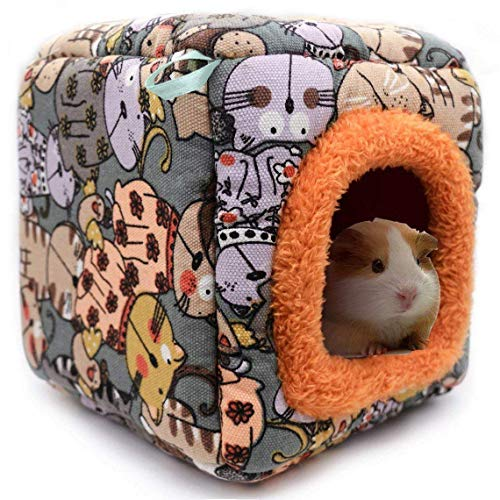 KAMEIOU Small Animal Guinea Pig Hamster Hedgehog Bed House Washable Warm Cartoon Hamster Hedgehog Chinchilla Snake Guinea Pig Cage Bed Habitat Nest Cube Cave for Small Animals