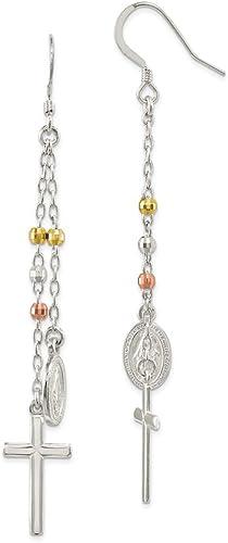 Vintage Womens Antique-Silver Tone Crown Pendant Chandelier Dangle Hook Earrings