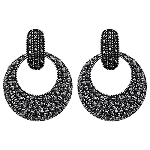 Gray Round Earring - DMI Punk Style Alloy Crystal Hollow Round Shape Dangle Earrings Gray-Color