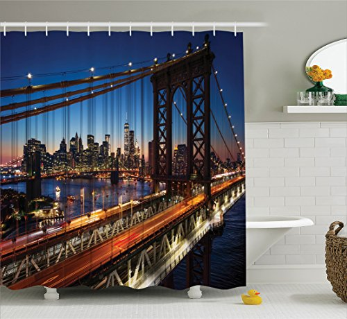 Ambesonne NYC Decor Collection, Sunset At Brooklyn Bridge River Large Modern Famous Tourism Touristic Attractions , Polyester Fabric Bathroom Shower Curtain Set with Hooks, Navy Brown - 45th Nyc And 5th