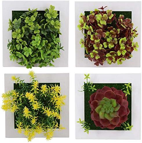 Plantes Murales Et Plantes Succulentes dans des Cadres en Bois Le yi Wang You Fleurs Artificielles Assorties Ensemble De Faux Feuillage Suspendu D/écoratif 1A