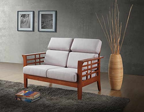 Baxton Studio Lamon Modern Classic Mission Style Cherry Finished Wood Beige Fabric High Back Cushioned Living Room 2 Seater Loveseat Settee