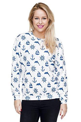 Marine Muster Damen Sweater - Anker See - Oversize Sweatshirt Pullover Pulli Hipster