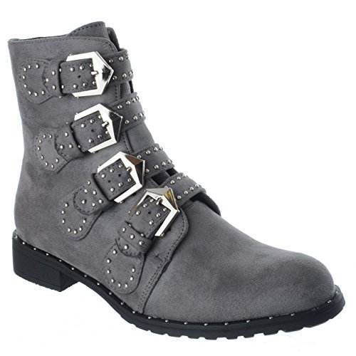 Miss Image UK Ladies Womens Strappy Studded Studs Buckle Biker Zip up Flat Low Block Heel Chelsea Ankle Boots Shoes Size Grey Faux Suede 85NF4Hun0