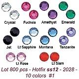 Wholesale Lot 800 ss12 ~ 3.3mm #2028 Swarovski Crystal Hotfix Flatback Rhinestone Xilion Rose (#1) . 10 colors with storage box.