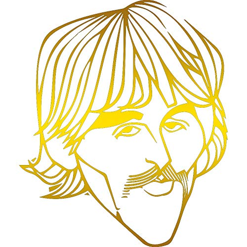 (THE BEATLES GEORGE HARRISON SILHOUETTE (METALLIC GOLD) (SET OF 2) PREMIUM WATERPROOF VINYL DECAL STICKERS FOR LAPTOP PHONE ACCESSORY HELMET CAR WINDOW BUMPER MUG TUBER CUP DOOR WALL DECORATION)