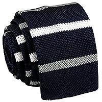 D.berite Men's Gray White Striped Tie Knit Knitted Necktie Narrow Slim Skinny Woven