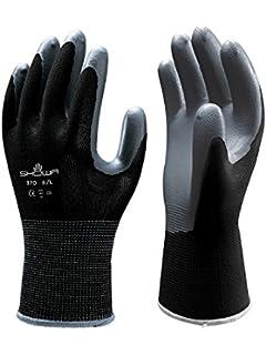 Superior SHOWA 370BL 08 Atlas 370B Nitrile Palm Coating Glove, Black, Large (Pack