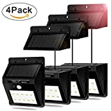 Feelle Waterproof Solar Light Motion Sensor Wall Light Outdoor Security Light for Garden, Patio, Deck, Yard, Fence, Driveway(Separable Solar Panel Design with 8 ft Connection cord) (4 PACKS)
