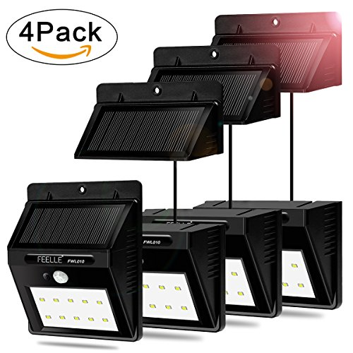 FEELLE Separable Solar Motion Sensor Light Outdoor Waterproof Solar Security Wall Light for Garden, Patio, Deck, Yard, Fence, Driveway( 8 ft Connection cord) (4 PACKS)