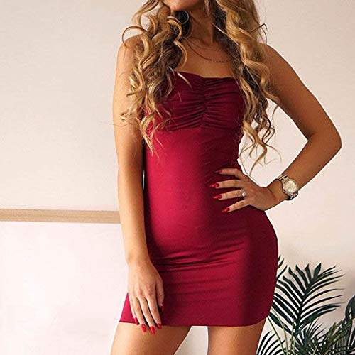 255e0e484daa5 Women Sexy Sleeveless Mini Solid Dresses TANGSen Ladies Fashion Summer  Sling Vintage Casual Bodycon Party Dress Red