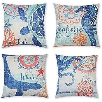 INSHERE 4 Pack Ocean Theme Throw Pillow Covers Decorative Mediterranean Style Square Pillowcases Cotton Linen Cushion Cover 18 X 18 Inch (Ocean-A)