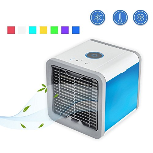 Air Cooler 3 in 1 USB Mini Portable Air Conditioner Humidifier Purifier and 7 Colors Nightstand Desktop Cooling Fan for Office Home Outdoor Travel by REDAN