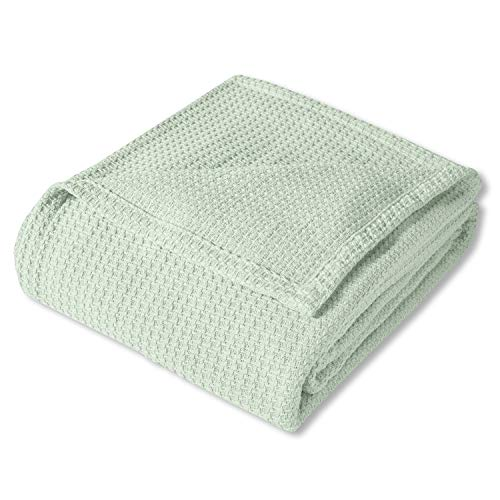 Sweet Home Collection 100% Fine Cotton Blanket Luxurious Basket Weave Stylish Design Soft and Comfortable All Season Warmth, King, Mint