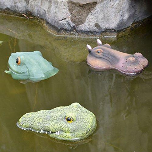 Crocodile Garden - SIGMALL Set of 3 - Floating Crocodile Head Funny Outdoor Realistic Simulation Resin Hippo Frog Head for Pool Pond Decor Animal Garden Art in Water (Crocodile + Frog + Hippo)