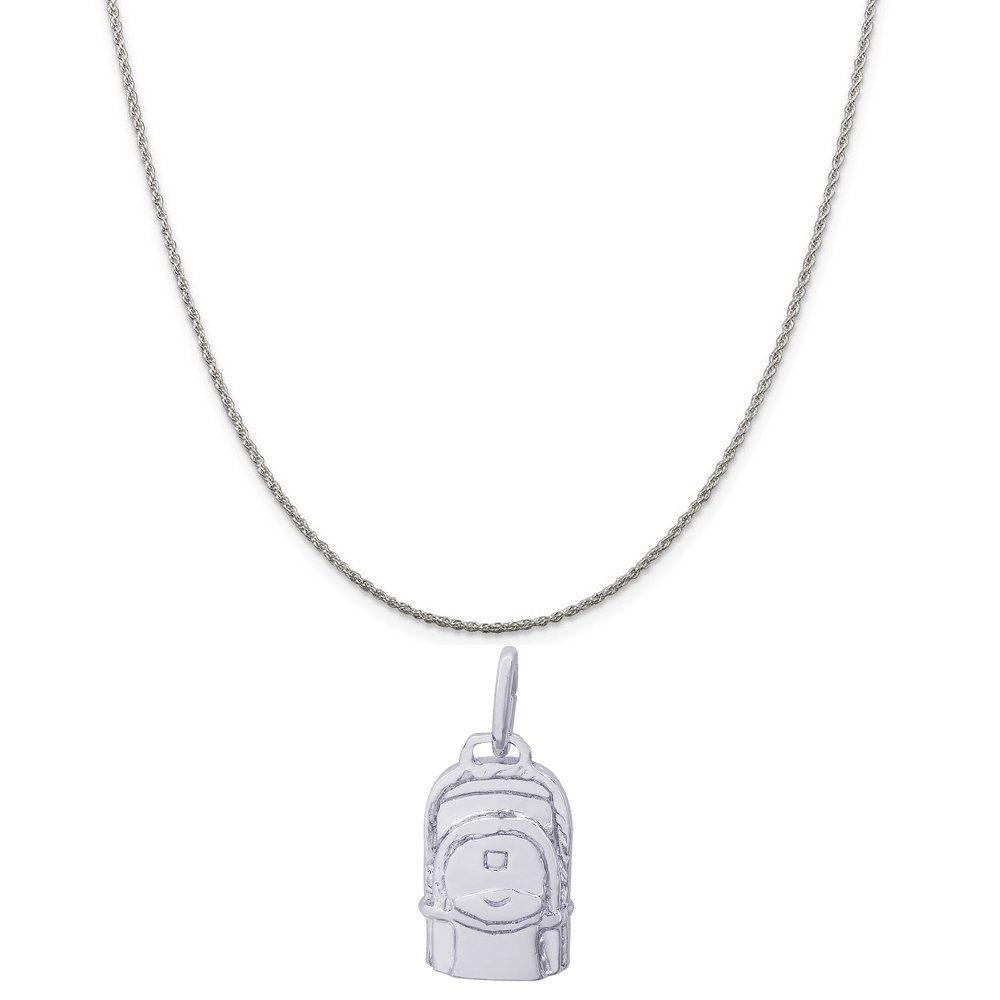 Rembrandt Charms Sterling Silver Back Pack Charm on a 16 18 or 20 inch Rope Box or Curb Chain Necklace