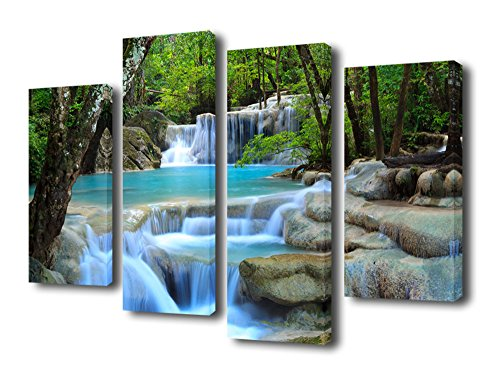 4 Piece Wall Art (Canvas Art Nature Painting Blue Waterfall in Forest Canvas Prints 4 Pieces Large Modern Artwork Contemporary Picture for Home Decoration Framed Ready to Hang)