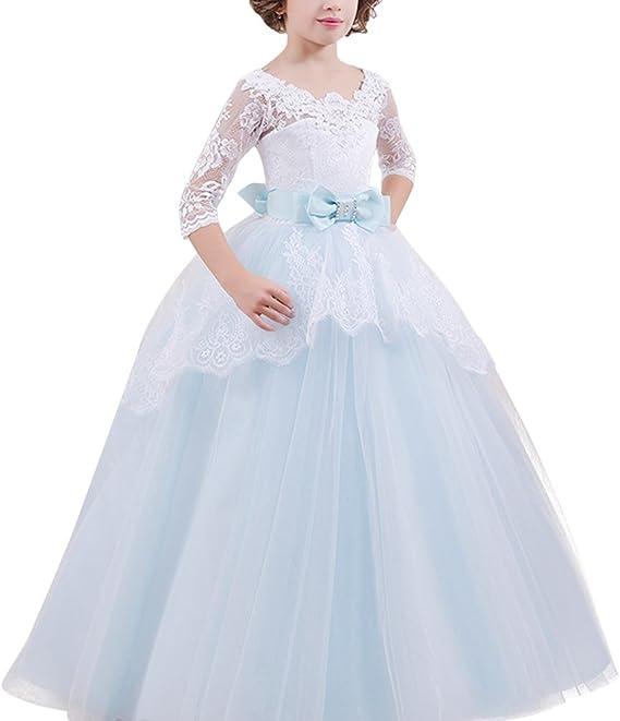 Blumenmädchen Kleid Kinder Hochzeitskleid Prinzessin Lang ...