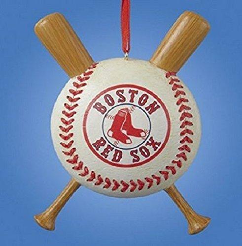 Boston Red Sox Baseball and Crossed Bats Christmas Ornament Decoration MLB