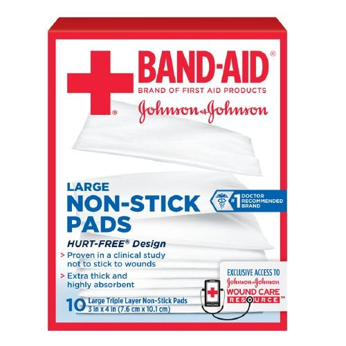 Band-Aid First Aid Covers Non-Stick Pads, Large 10 ea Pack