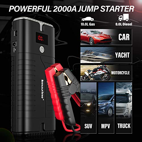 Imazing Portable Car Jump Starter - 2000A Peak 18000mAH (Up to 10L Gas or 8L Diesel Engine) 12V Auto Battery Booster Portable Power Pack with LCD Display Jumper Cables, QC 3.0 and LED Light