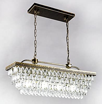 New Galaxy Lighting Antique Copper Finish Rectangle 4-light Crystal Chandelier Hanging Ceiling Light Fixture