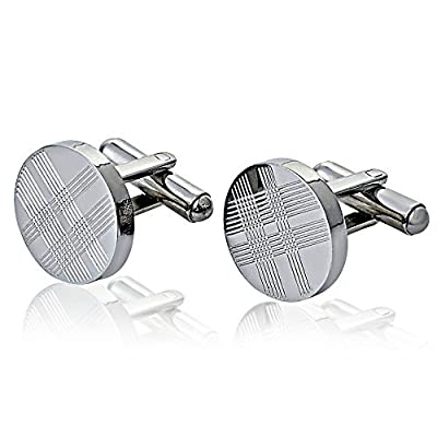 Jeneric Design's Men and Women's Cufflinks for French Cuff Shirts Sleeve Silver Round Stainless Steel With Tartan Pattern For Men's Accessories for Groomsmen Gift Bags Wedding Business Anniversary