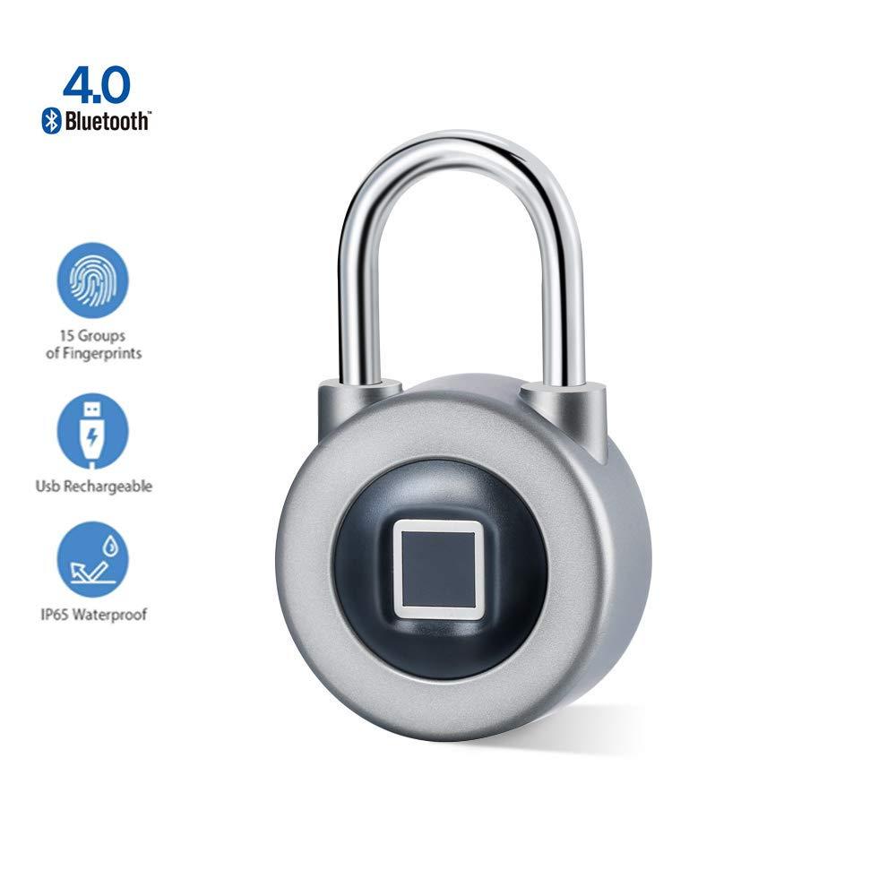 Fingerprint Padlock, Uervoton 3rd Gen Bluetooth Lock for Gym, Sports, School & Employee Locker, Outdoor, Fence, Hasp and Storage - All Weather Metal and Steel IP65 …
