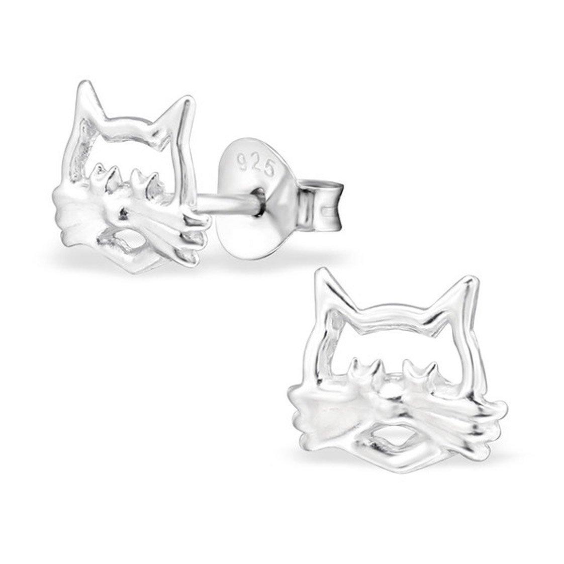 Cute Plain Silver Cat Earrings Studs Girls Children Cut out Stering Silver 925