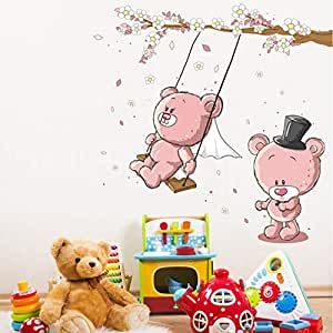 Cute swingtrapeze Little Bear Wall Decals Removable Wall Stickers for Kids Room Excellent wallpaper