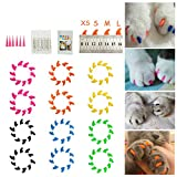 Dadiii Cat Nail Caps 120PCS Soft Claws Paws Grooming Covers for Pet Cat Kiteen to Protect Furniture 6 Colors + 6 Pcs Adhesive Glue and Applicators (S)