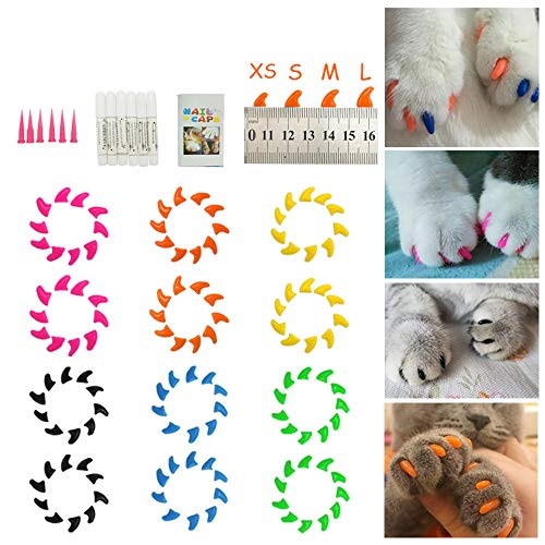 Dadiii Soft Cat Nail Caps, 120PCS Soft Claws Paws Nail Covers for Pet Cat and Dog to Protect Furniture 6 Colors + 6 Pcs Adhesive Glue and Applicators, Options of 3 Size (M Size) ()