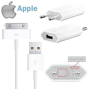 Apple Original USB 5 W Adaptador MD813ZM/A A1400 USB Fuente de alimentación + Original Dock Cable de Datos MA591 para iPhone 4S, 4, 3 GS, 3 G, iPod ...