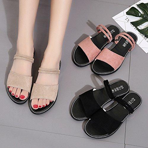 Usura Donna Comoda E Wild Leggera Due Sandali Moda Estate Casual brown Piatto WHLShoes Spiaggia Donna Fondo Sandali qx48F5p
